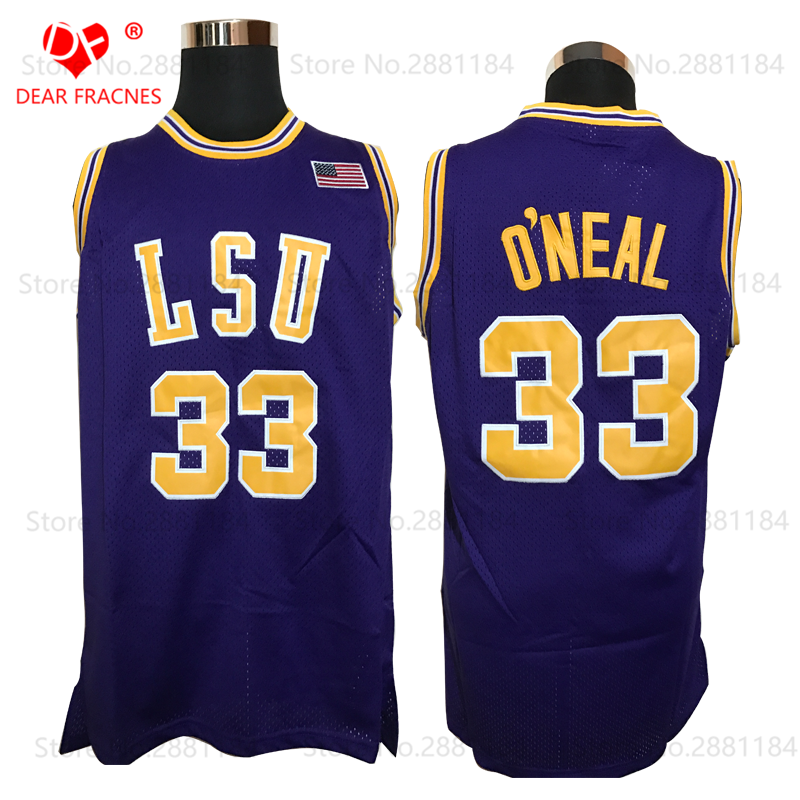 white 2017 retro 33 shaquille oneal throwback basketball jersey shaq oneal lsu tigers nike