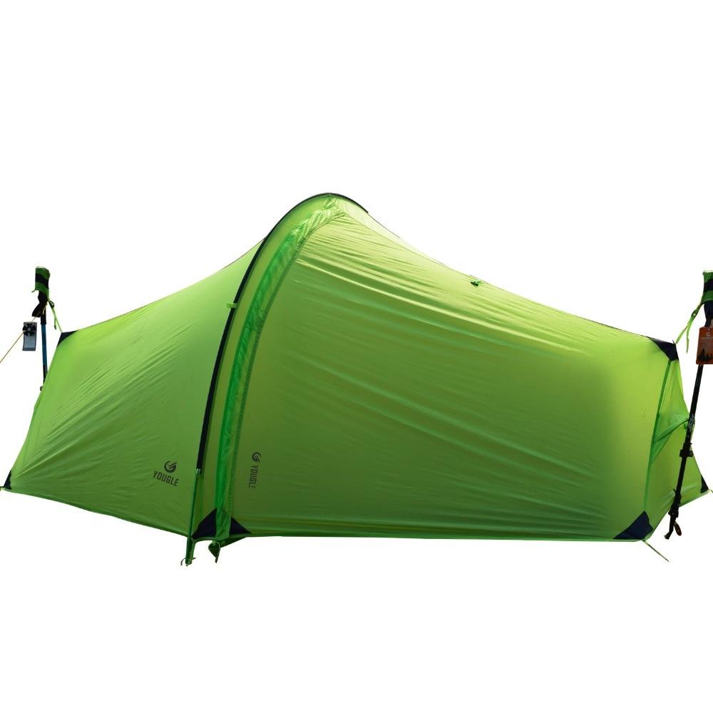 15D двойной Слои один Для мужчин один человек туннель альпинизмом палатки 3 сезона для кемпинга Пеший Туризм путешествия сверхлегкий с силик...
