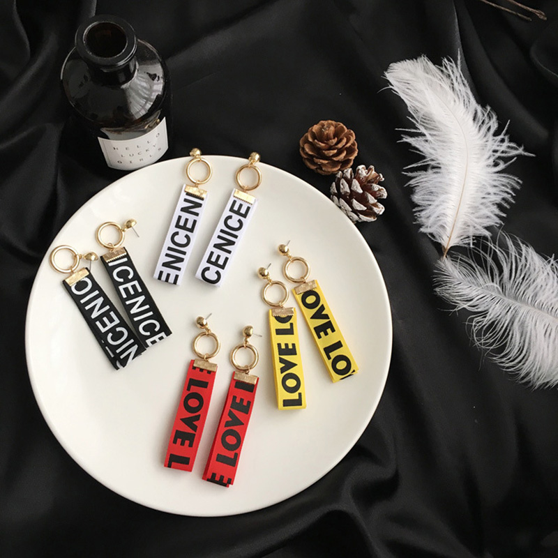 stud for love jewelry in pendientes ribbon eardrop colourful item double women earrings multilayers charm long circle letter from
