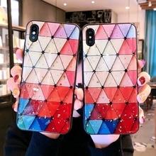 For Huawei Nova 2S Case Gold Foil Glitter triangle splice Cute Contrast color Soft Silicone Back Cover