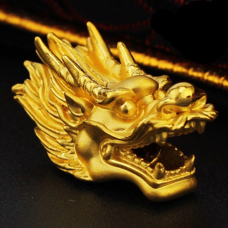 1 pièces nouveau 3D 24 K Bracelet en or jaune 999 Bracelet tête de Dragon en or 2.77g
