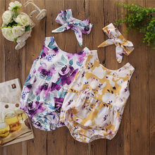 Newborn Clothes Korean Style Kids Bodysuit Baby Girls Outfit Clothes Flower Print Bodysuit Headband kleding jumpsuits kinderen(China)