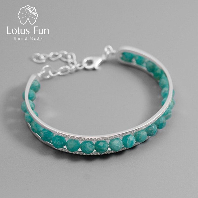 Lotus Plaisir Réel 925 Sterling Argent Nature Pierre Bracelet bijoux fins Réglable Vintage Simple Bracelet de pierres précieuses pour les Femmes