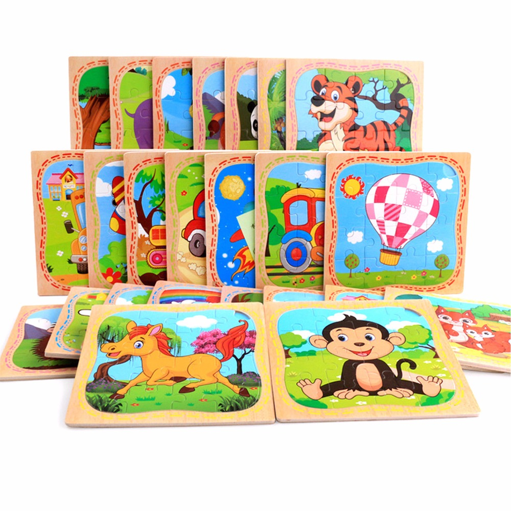 Wooden Cute Animals/Vehicle Assembled Building Blocks Baby Kids Puzzle Learning Educational Toy CHIC Fashion 15*15cm