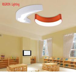 Regron Led lampy sufitowe nowoczesne naturalne światło księżyca 1 Pc kolorowe Panel żelaza lampa sufitowa do pokoju dziecka do czytania pokój balkon