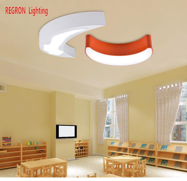 Regron Led lampy sufitowe nowoczesne naturalne światło księżyca 1 Pc kolorowe Panel żelaza lampa sufitowa do pokoju dziecka do czytania pokój balkon w Oświetlenie sufitowe od Lampy i oświetlenie na happiness lighting Store