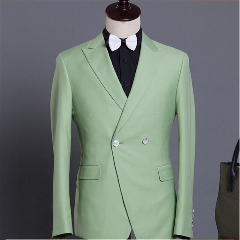 Men Suit Jacket Slim Fit Wedding Groom Best Men's Blazer Mint Green Business Casual Style Double Breasted Tops Formal mint green casual sleeveless hooded top