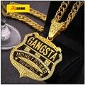 Últimas Chegadas Moda Crachá Personalizado Pingente de Colar de Brilhantes de Cristal Colar de Jóias Na Moda Hip Hop Gangsta Rap Homens
