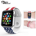 38/42mm S/M Original Design Silicon Rubber American Flag Design Stary Red Striped Iwatch Band Sports Bracelet Strap for Iwatch