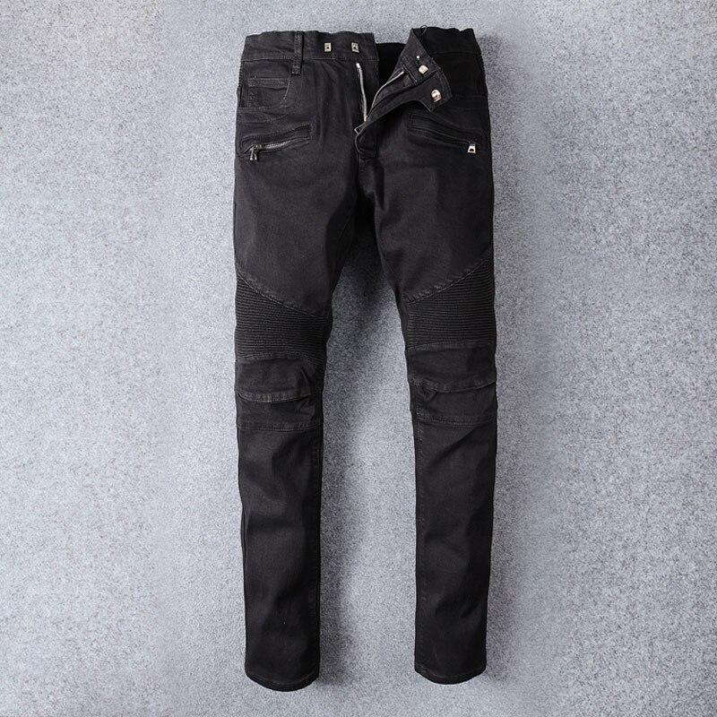 Classical Fashion Men Jeans Black Color Slim Fit Spliced Denim Cargo Pants Hombre Streetwear Hip Hop Jeans Men Biker Jeans Homme