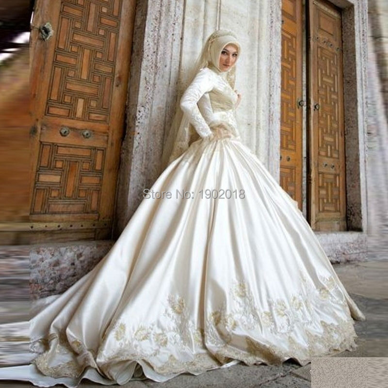Islamic Turkish Wedding Dresses With Hijab Muslim Women Bridal Gowns ...