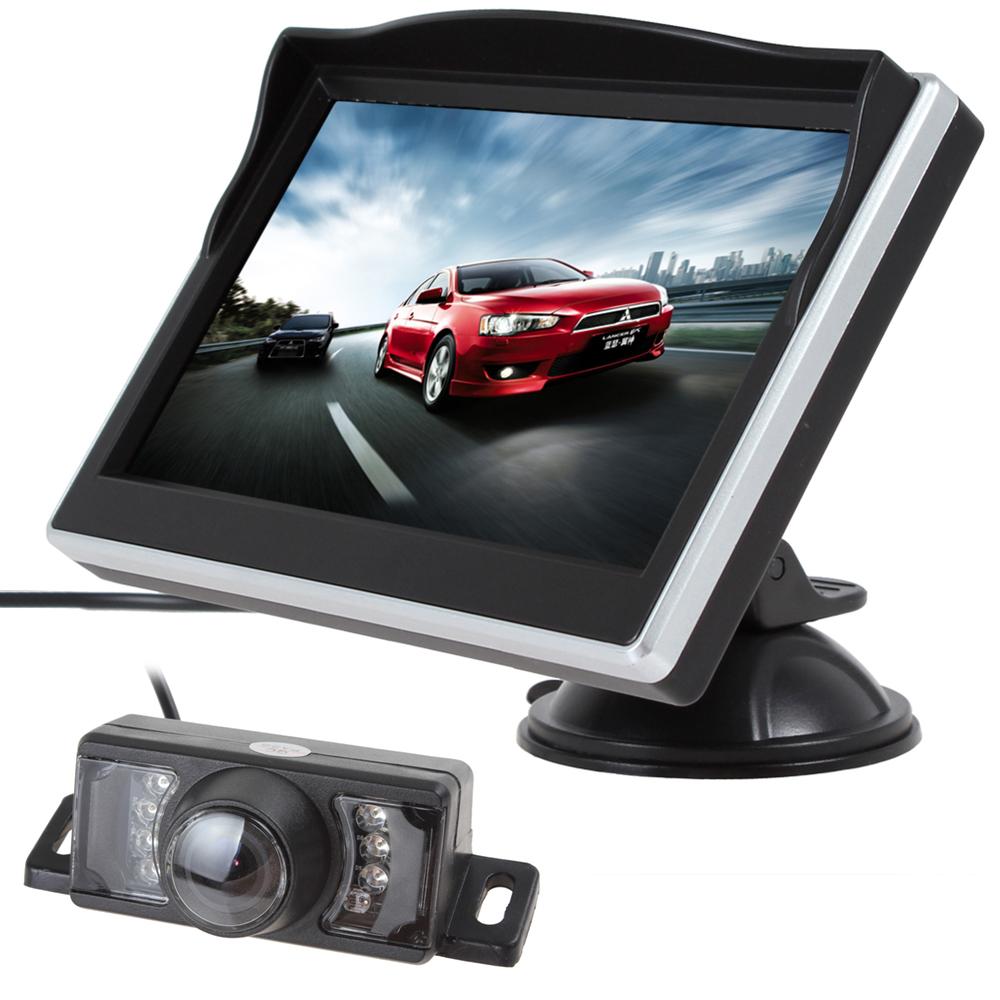 Prix pour 5 Pouce TFT HD Numérique LCD Écran 480x272 Couleur De Voiture Arrière View Monitor + 7 IR Lumières imperméable à L'eau 170 Degrés Vue Arrière de Voiture Caméra