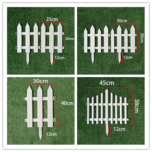 5PCS Plastic Garden Fence Easy Assemble White European Style Insert Ground Type Plastic Fences for Garden Countryyard decoration