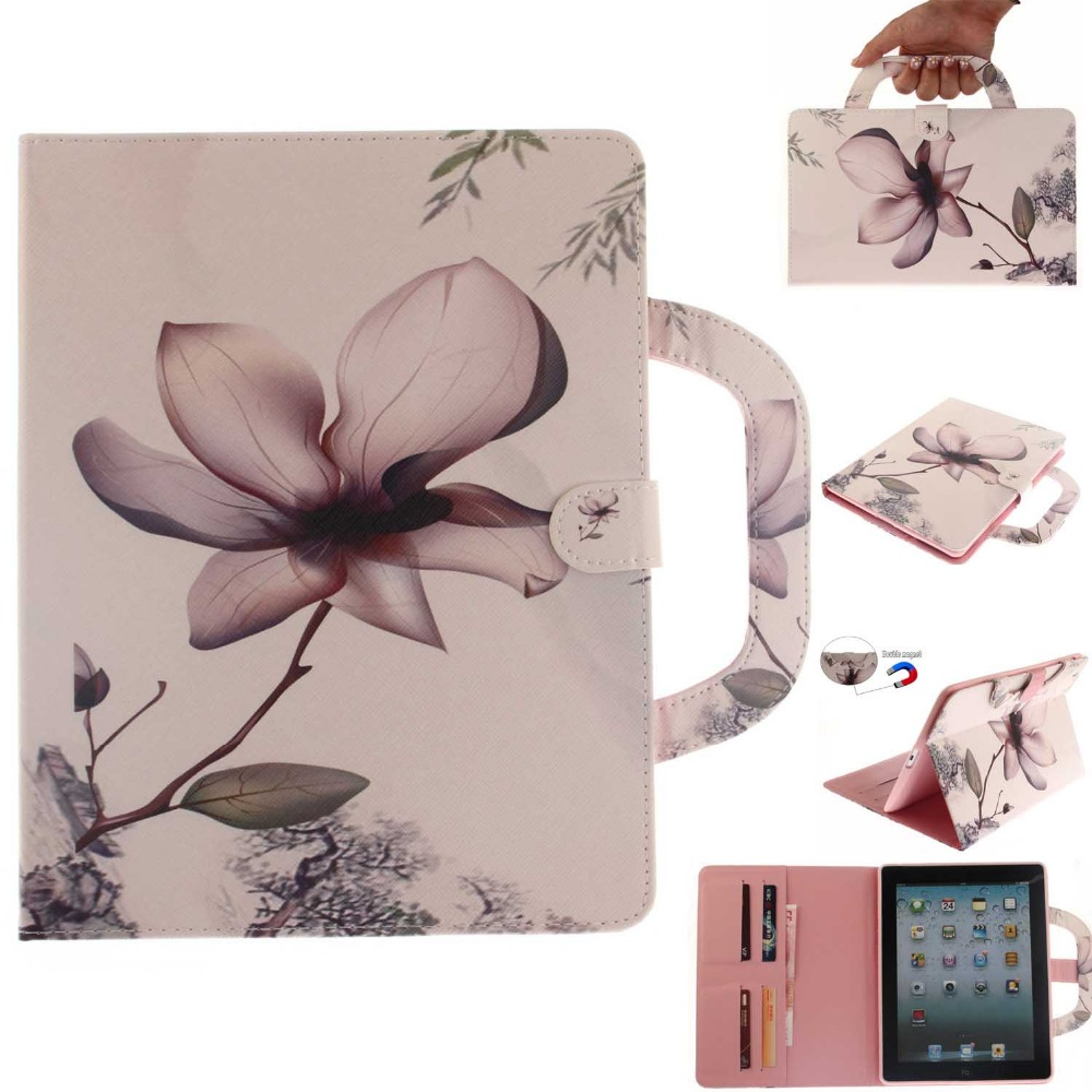 New Handbag Tablet Case for iPad 2 3 4 Coque Floral Flip Folio PU Leather Stand Cases Cover for iPad 2nd / 3rd / 4th Generation
