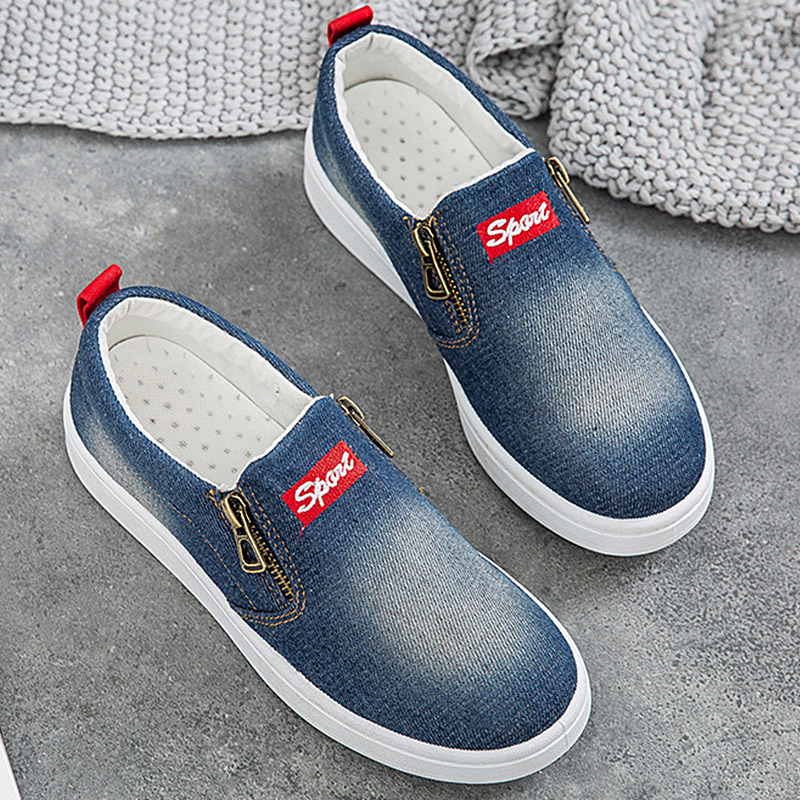 Women Platform Flat Casual Canvas Shoes Ladies Denim Loafers Female Slip On Moccasins zapatillas mujer casual Plus Size 35-44