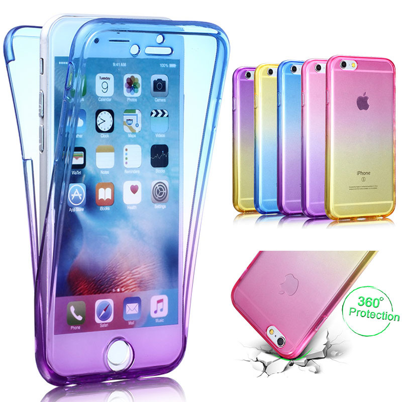 5b3748311b 360 Full Gradient Color Protective Soft TPU Case Cover for Samsung Galaxy  S6 S7 edge Silicone phone Coque bag For S6edge plus