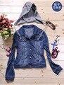 Женщины купированные джинсовой короткая куртка Синий пальто кардиган С Капюшоном Джинсы Прохладный Верхняя Одежда chaquetas mujer джинсовые толстовки 021503
