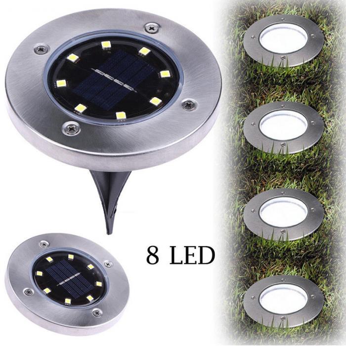 4 Pcs/set  LED Solar Power Buried Light 8 LEDs Ground Lamp Outdoor Path Way Garden Decor White Four 3
