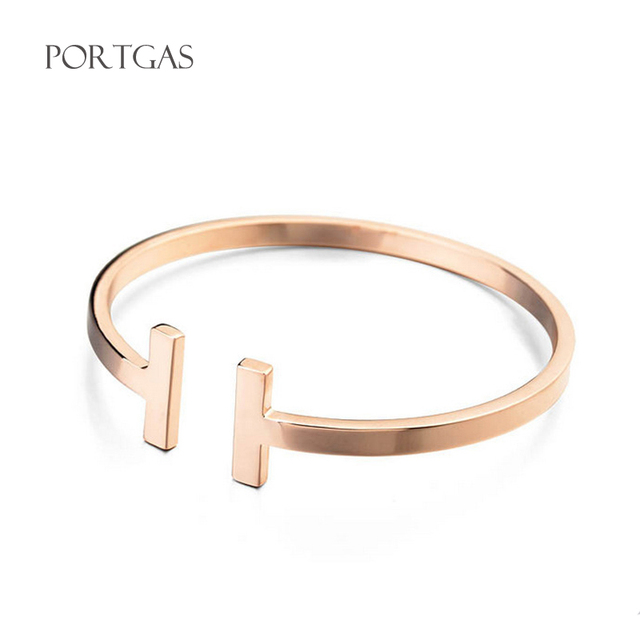 High Fashion Designer Bracelets For Women Stainless Steel Open Bangle 2017 T Bangles Smooth Arm