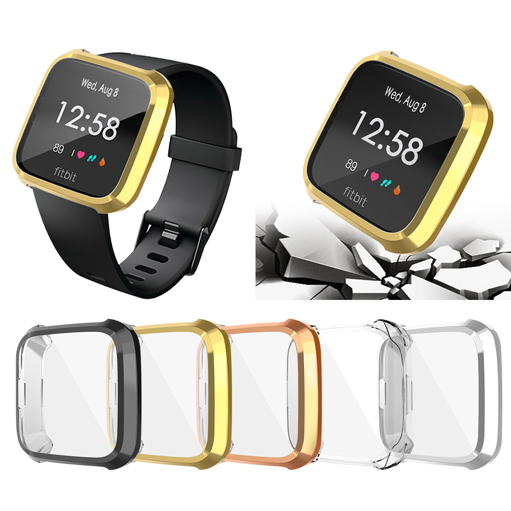360 Degree Protection Cover For Fitbit Versa 2 Band Case Plating For Fit Bit Versa Watch 2 Accessories Screen Protective Case
