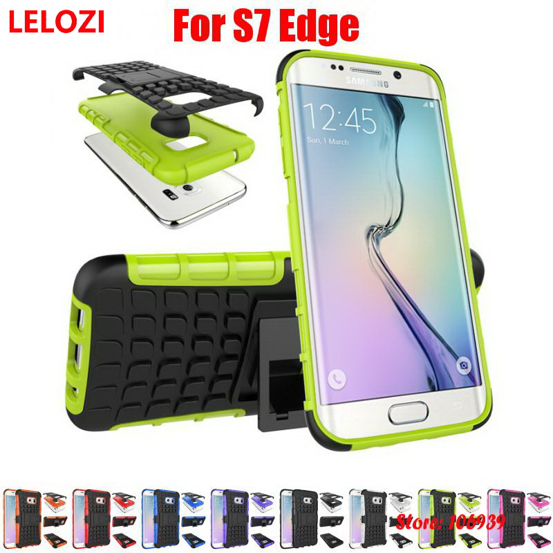 LELOZI Hard Armor Rugged PC Hybrid Heavy Duty TPU Holder Stand Phone Mobil Carcasa Etui Case coque For Samsung Galaxy S7 Edge