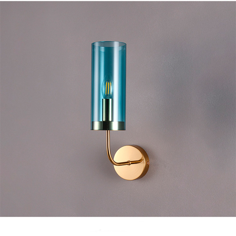 Modern Blue Glass Lampshade Wall Sconce Parlor Bedside Led Wall Lamp E14 110V/220V Home Art Decoration TV Background Wall Light