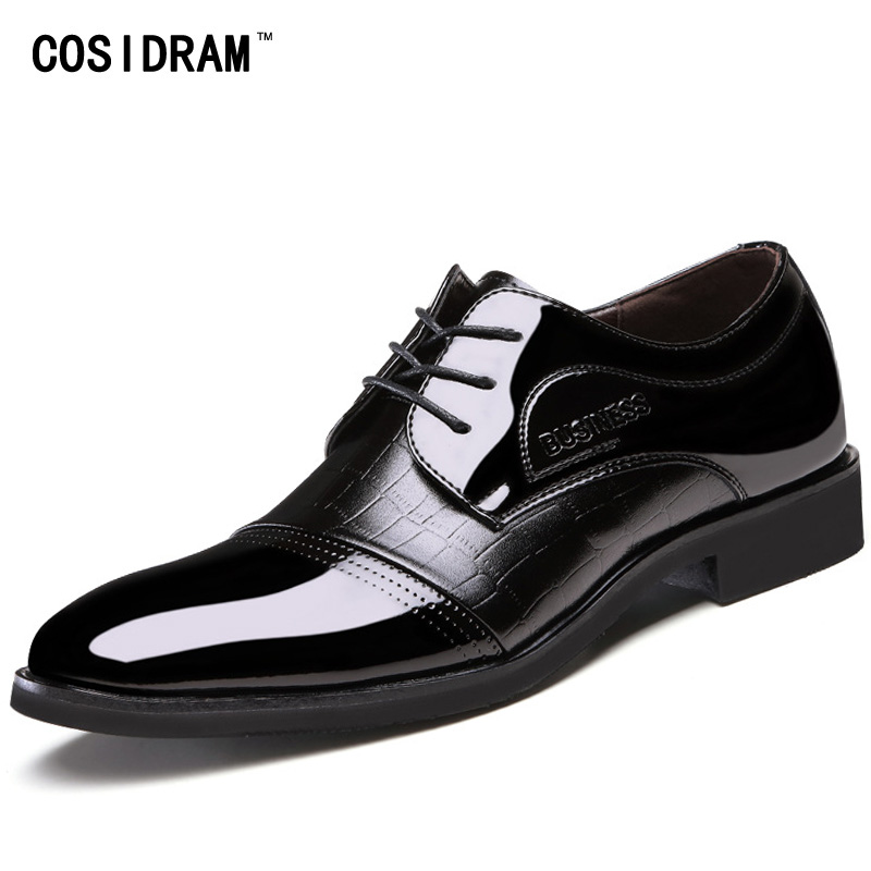 COSIDRAM 2018 Spring Business Wedding Shoes Pointed Toe Men Dress Shoes PU Leather Oxfords Formal Shoes For Male Luxury RME-339