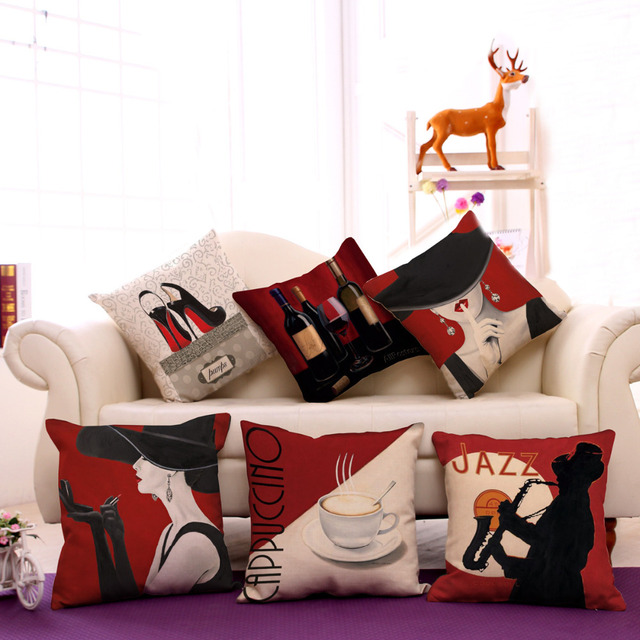 De moda de alta calidad del algodón de lino romántico vino tinto elegante mujer decorativa Throw Pillow Case cojín decoración para el hogar sofá