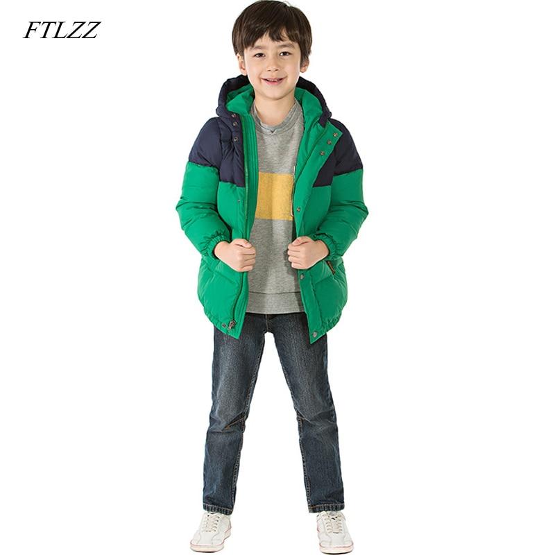 FTLZZ 3-9T Children Down & Parkas 2018 Winter Kids Outerwear Boys Casual Warm Hooded Jacket For Boys Solid Boys Warm Coats цена 2017