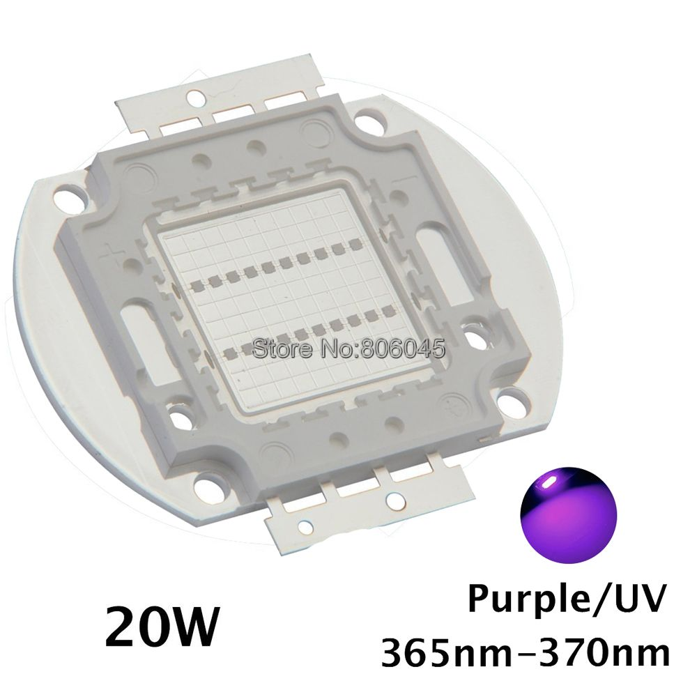 20W High Power LED UV Ultra Violet Purple Light Chip 365nm-370NM,380nm-385nm,395nm-400nm,420nm-425nm LED Light Source EPILEDs 10w 12w ultra violet uv 365nm 380nm 395nm high power led emitting diode on 20mm cooper star pcb