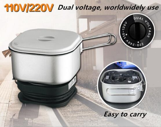 Dual Voltage Worldwide Use Travel Rice Cooker Portable