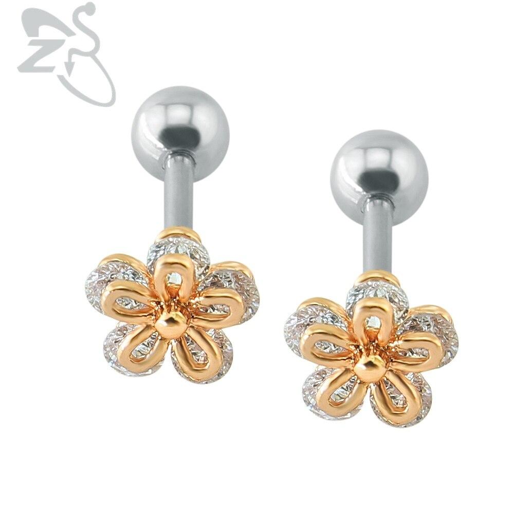 Popular Flower Shaped Stud Earrings Clear Crystal Ear Cartilage Piercing  Women Girl Cute Double Side Earrings