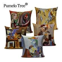 Vintage fundas decorativas para cojines Pablo pinturas de Picasso decoración almohadas noche estrellada Arte Abstracto funda de cojín Lino Pillocase