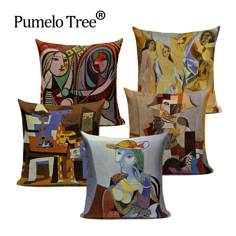 Pablo Picasso Famous Paintings Cushion Covers The Starry Night Surrealism Abstract Art Cushion Cover Beige Linen Pillow Case