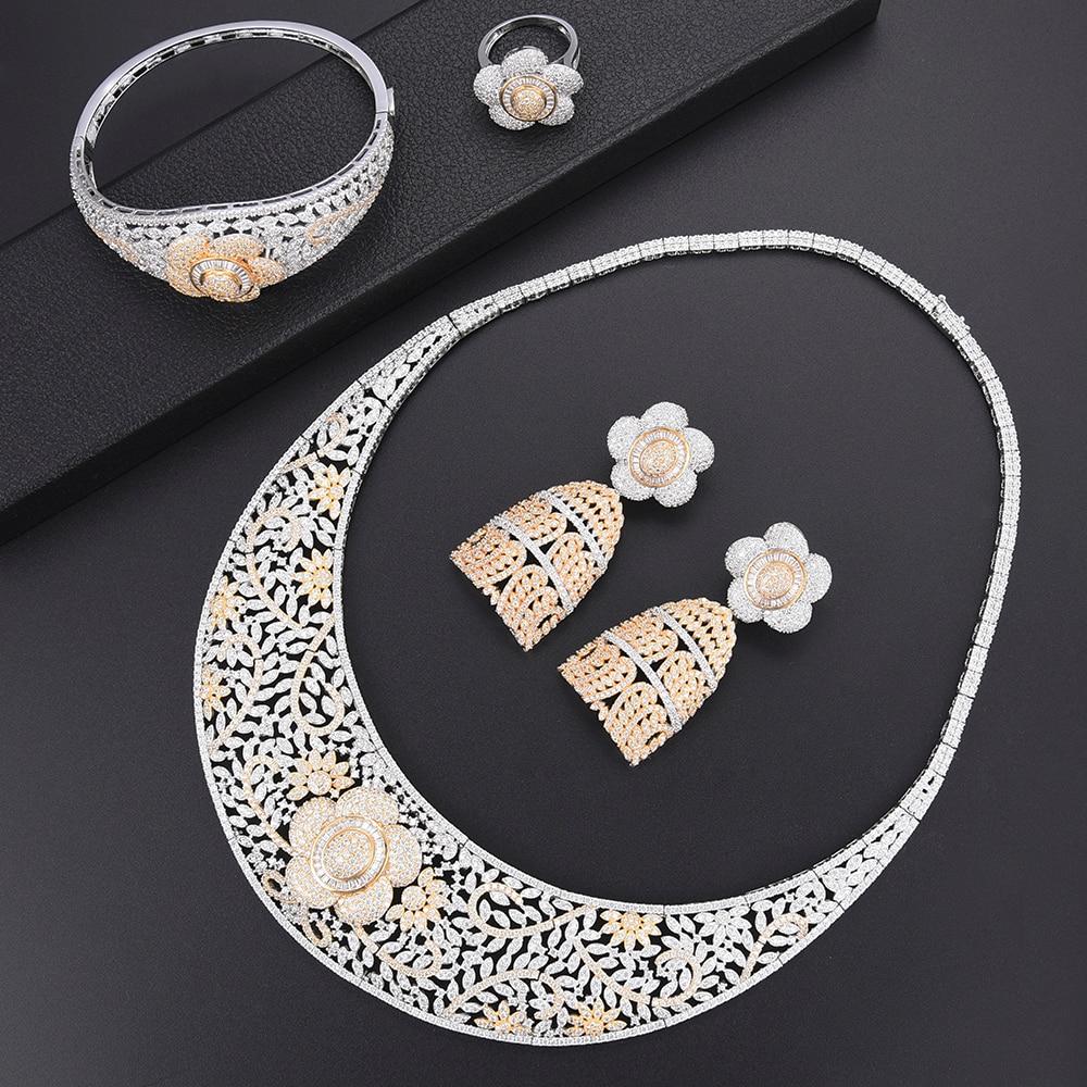 SisCathy 4 pièces collier/bracelet/bague/boucles d'oreilles luxe complet cubique zircone bijoux pour femmes charmes déclaration fleur bijoux ensembles