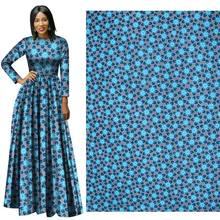 Fall and Winter 2019 New Full Polyester fabric blue flower Plain Printed Cloth 112-114 Width plain weave  african wax