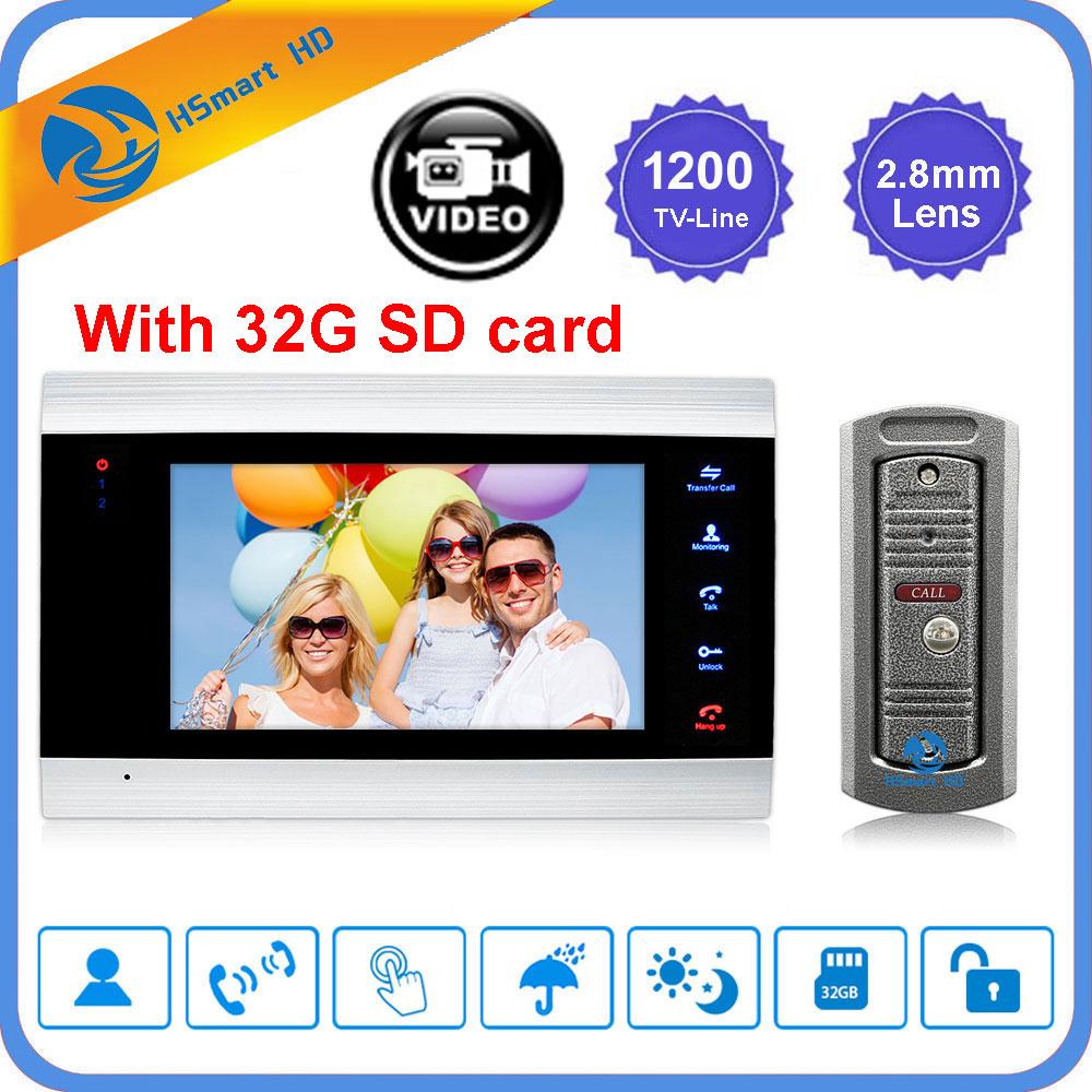7 Inch Video Doorbell Intercom System 1200TVL IR Camera Video Door Bell Motion Detection Record Intercom Doorphone + 32G SD Card