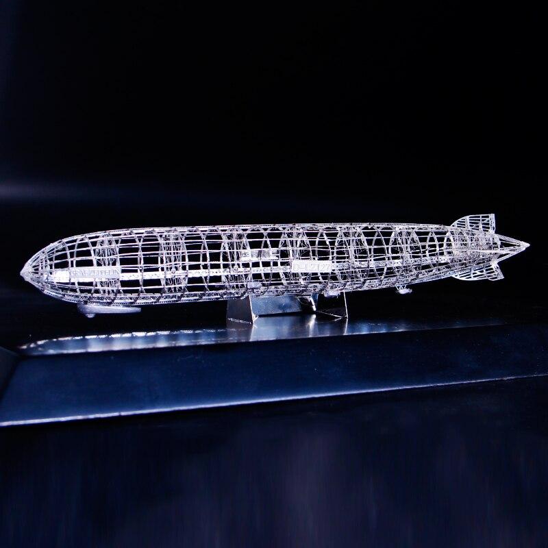 All Metal acier inoxydable bricolage modèle assemblé 3D puzzle tridimensionnel Zeppelin Squelette afficheur de bureau Jouets Pour Adultes Enfants