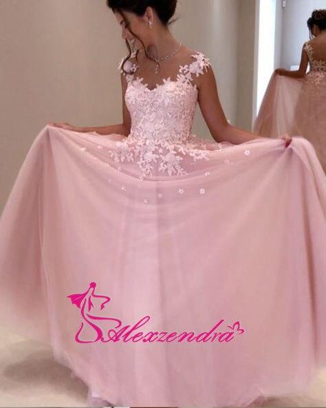 Alexzendra rose Tulle robes de bal encolure dégagée Illusion retour soirée robes de grande taille robe de soirée femmes - 2