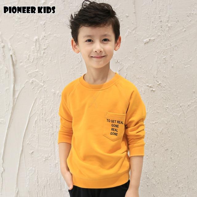 Pioneer Дети Мальчики одежда 2016 хлопок детская одежда осень мужская топы и тис дети полный рукав Утолщаются твердые футболки