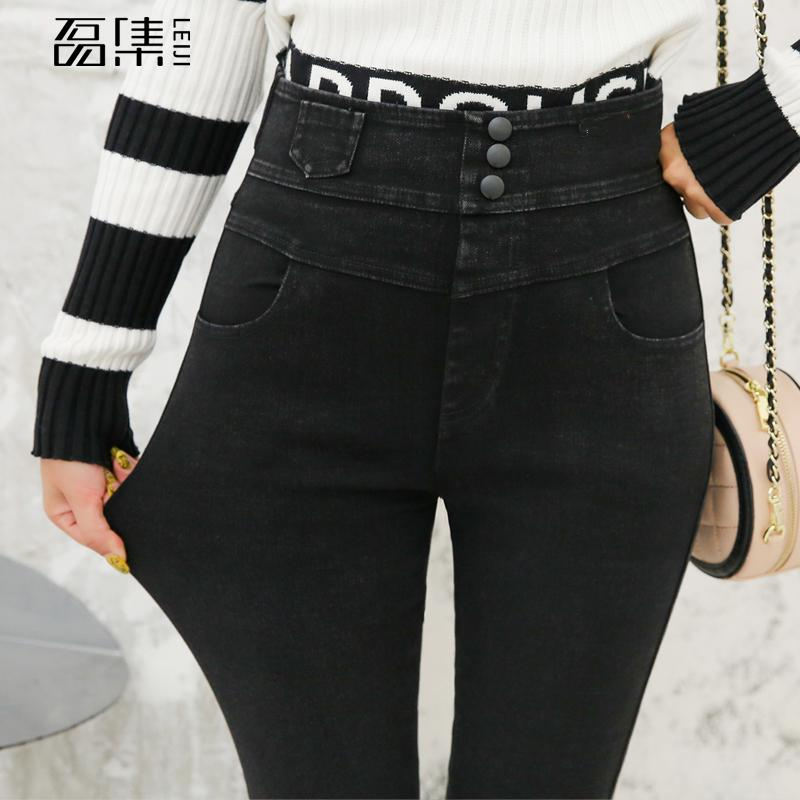 Jeans For Women High Waiste Plus Size Fashion  Three Buttons   High Quality    Black Mom Denim  Skinny Pencil Pants