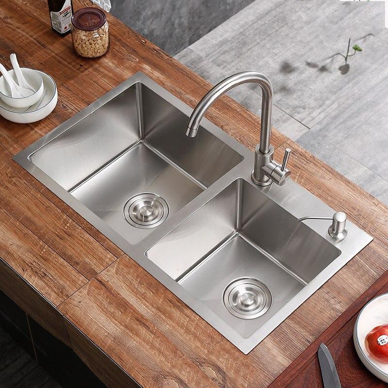 Ensemble de robinet d'évier de cuisine bassins double fente 304 cuisine en acier inoxydable épaississement manuel simple abreuvoir bassin évier bouble bol