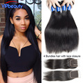 Mink Brazilian Straight Hair With Closure 4 Bundles With Closure Unprocessed Brazilian Virgin Hair With Closure Human Hair Weave