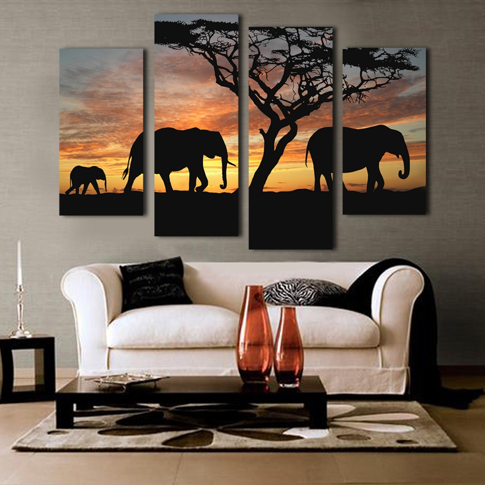 Best Product  Home Decoration Paintings On Canvas 4 Pieces/Pcs Sunset Elephant Framework Pictures HD Vintage Post