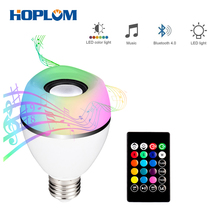 Led Light Bulb with Integrated Bluetooth Speaker,8W E27 RGB+W Changing lamp Wireless Stereo Audio with 24 Keys Remote Control