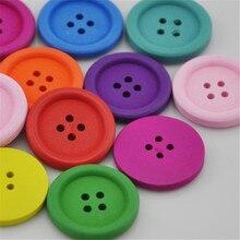 20/40 шт, 25 мм, красочные круглые деревянные кнопки с 4 отверстиями; Прошитые вручную аксессуары WB155