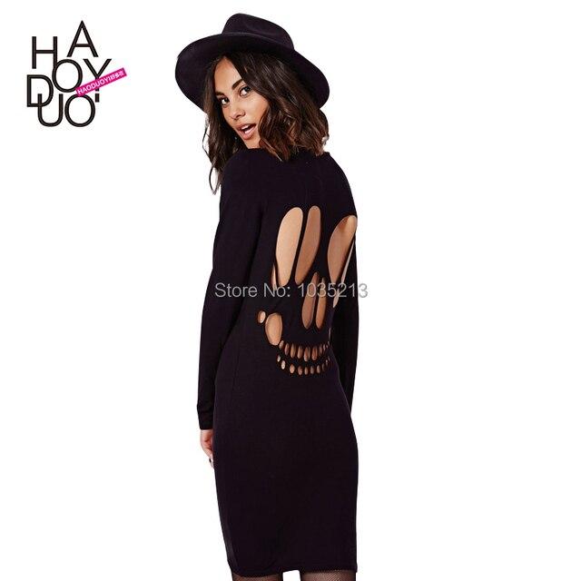 High Street Casual Dress Long Sleeve Black Dress Plus Size Sexy