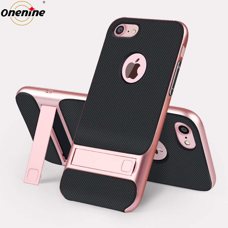 Luxury Brand Cover for iPhone 7 Case Silicone 3D Phone Back Cover TPU PC Hybrid 360 Protective Cases for iPhone7 Kickstand Capa