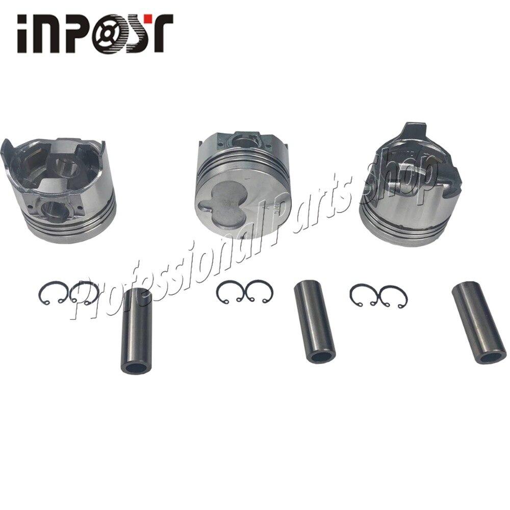 3 pcs 3LB1 Piston avec goupille et Clips pour SUMITOMO SH30JX/UJ Mini pelles Isuzu 3LB1 pièces de réparation de moteur diesel 8-97176-888-0