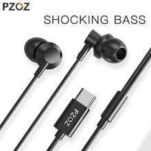 PZOZ USB C Earphone Wired Control Bass In-Ear Sport Headset Type C Jack Headsets With Mic For Xiaomi Mi Mix 2s 8 SE 6 6X LeEco